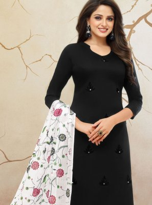 Cotton Silk Palazzo Designer Salwar Suit in Black