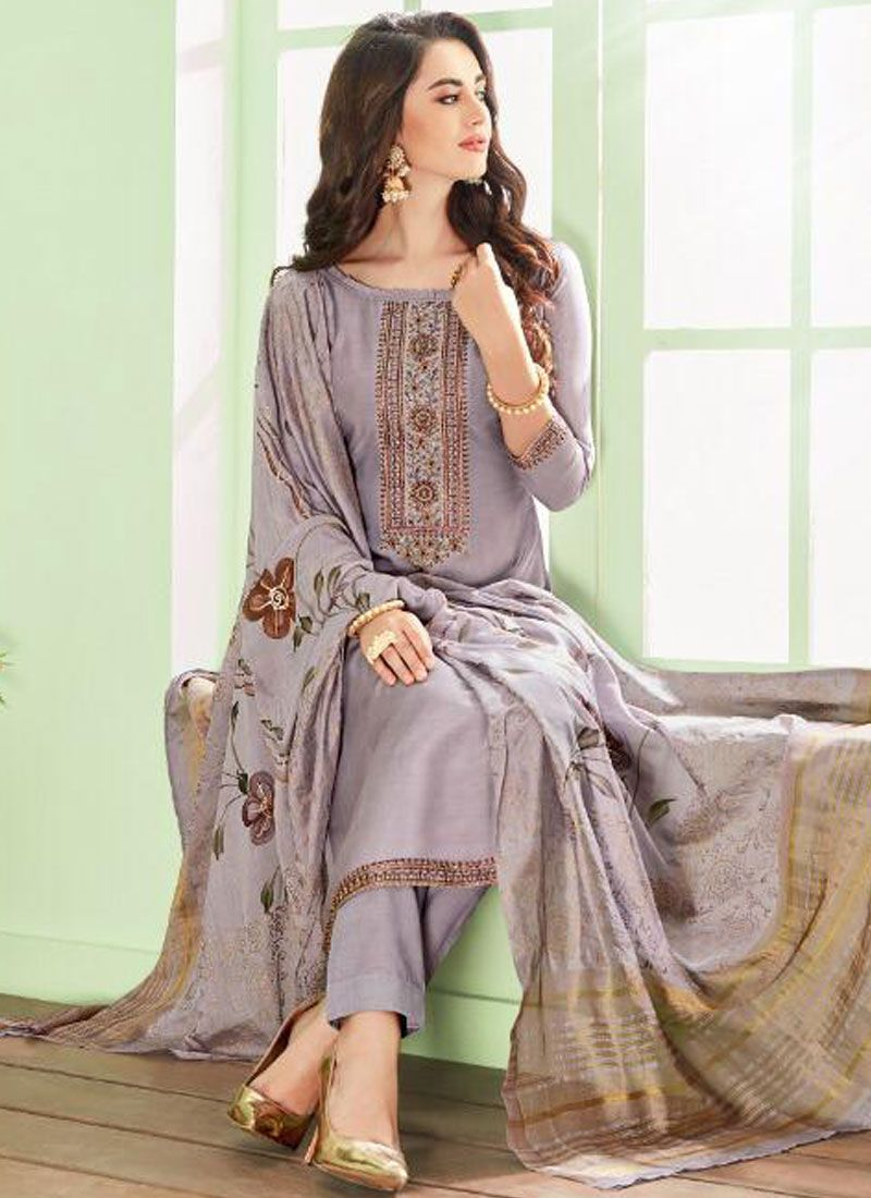 Cotton Silk Pant Style Suit in Grey