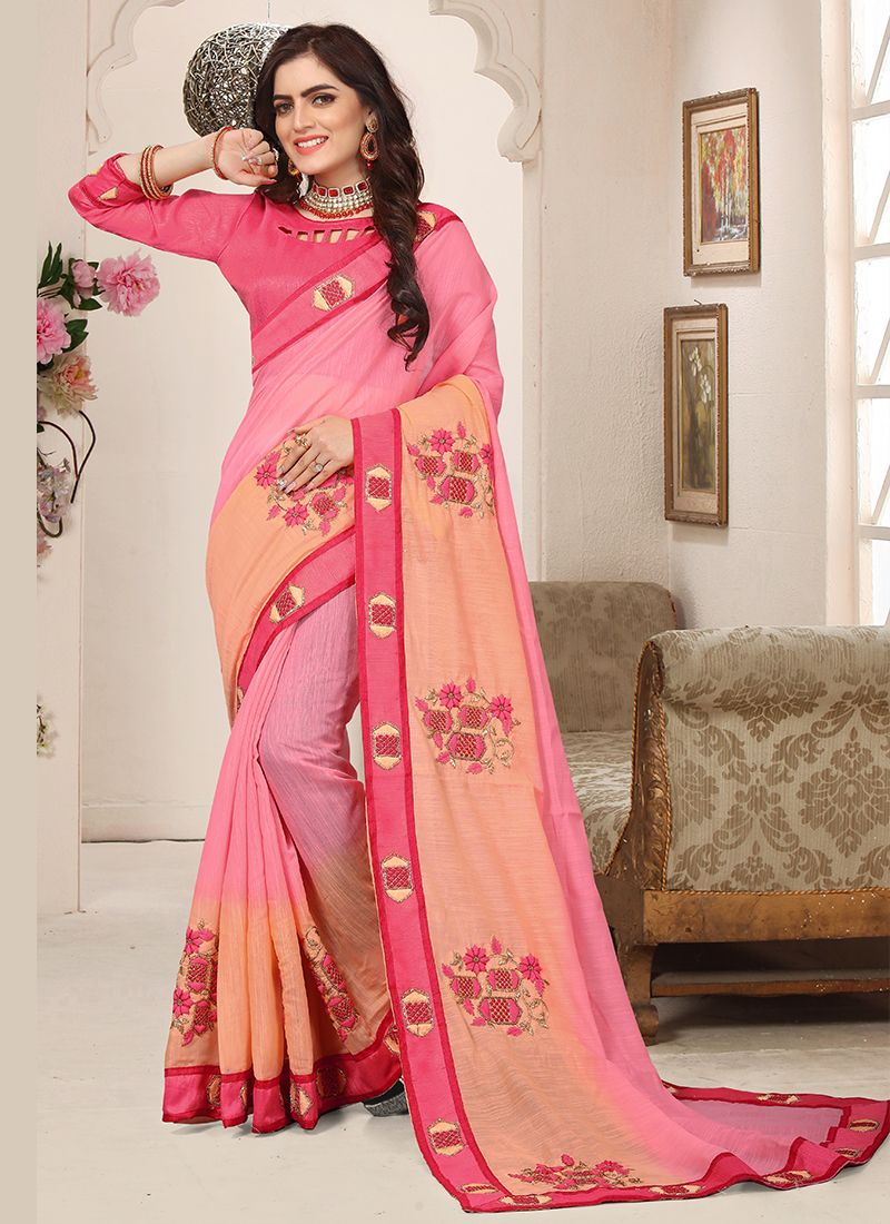 Cotton Silk Peach and Pink Embroidered Shaded Saree