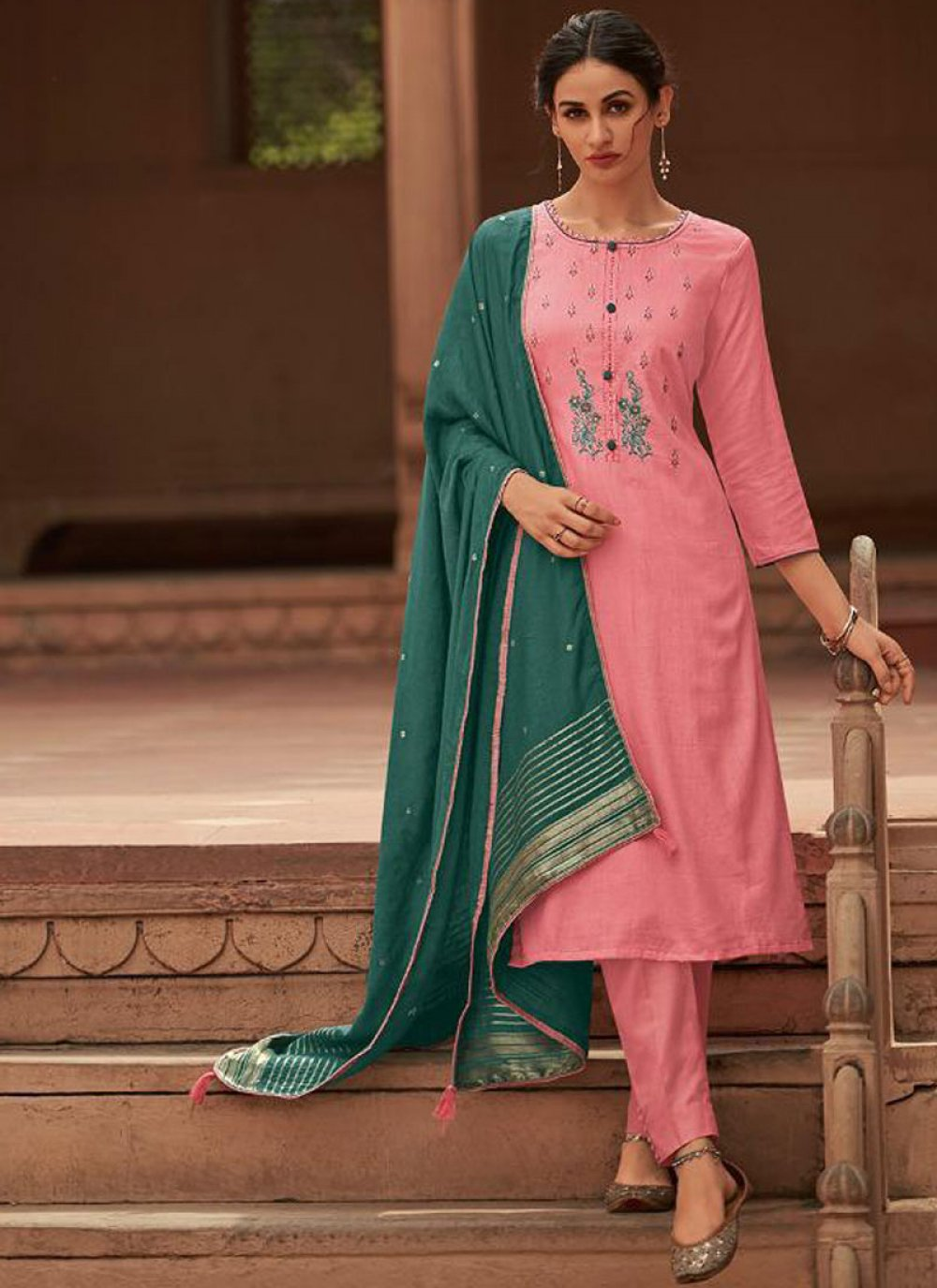 Cotton Silk Pink Embroidered Designer Pakistani Suit