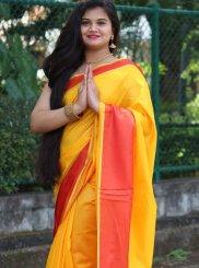 Cotton Silk Plain Classic Saree in Yellow