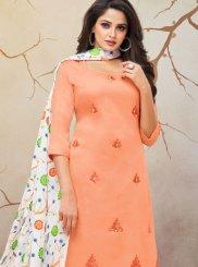 Cotton Silk Print Peach Palazzo Designer Salwar Kameez