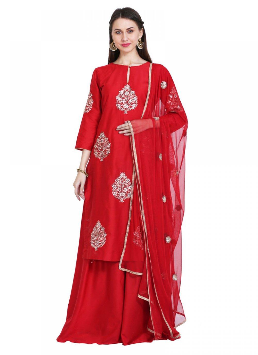 Cotton Silk Readymade Salwar Kameez in Red