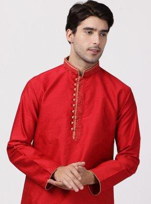 Cotton Silk Red Kurta Pyjama