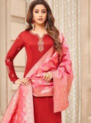 Cotton Silk Red Resham Designer Straight Suit
