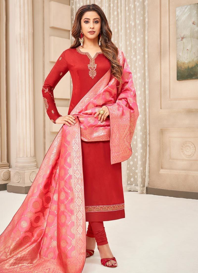 Cotton Silk Red Resham Designer Straight Suit