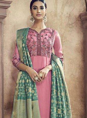 Cotton Silk Resham Pink Designer Palazzo Suit