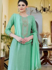 Cotton Silk Sea Green Embroidered Designer Palazzo Suit
