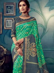 Cotton Silk Sea Green Weaving Traditional Designer Saree