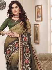 Cotton Silk Shaded Saree in Green