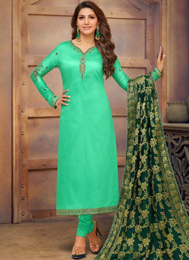 Cotton Silk Stone Work Green Churidar Salwar Kameez