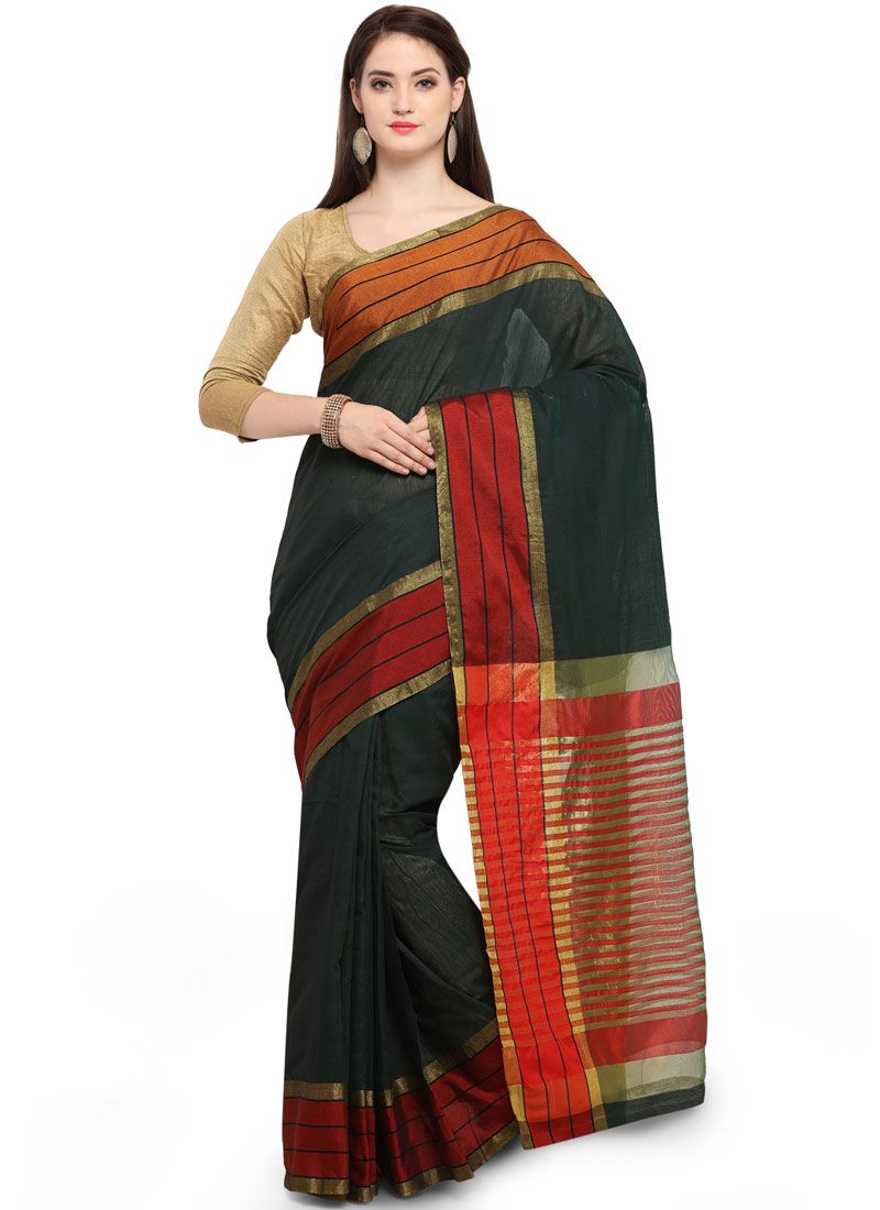 Cotton Silk Traditional Saree in Green