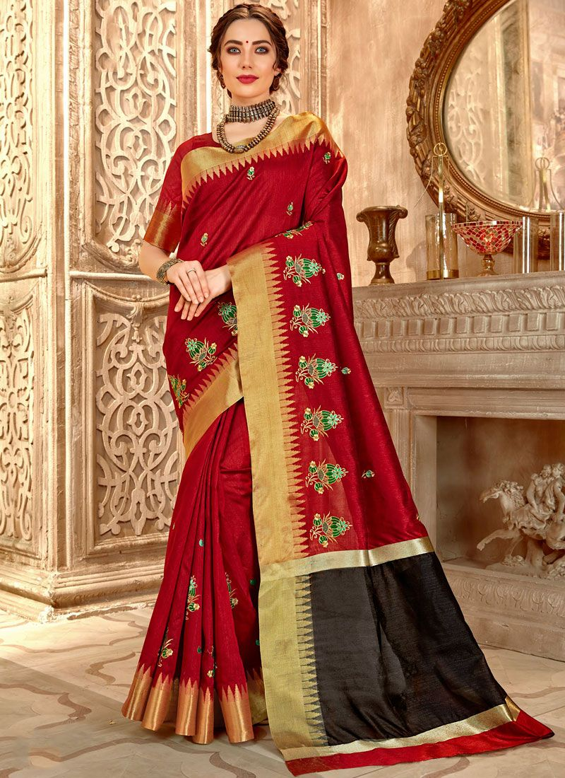 Cotton Silk Traditional Saree in Maroon