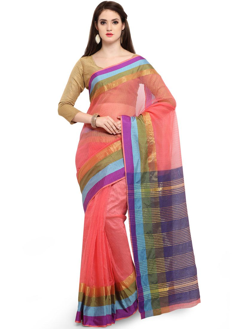 Cotton Silk Traditional Saree in Peach