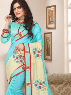 Cotton Silk Trendy Saree in Aqua Blue