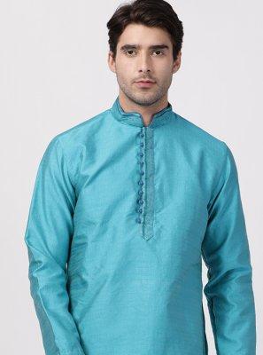 Cotton Silk Turquoise Plain Kurta Pyjama