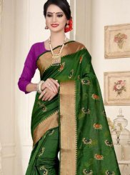 Cotton Silk Weaving Casual Saree in Green