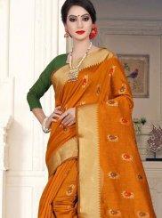 Cotton Silk Weaving Classic Saree in Orange