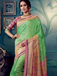 Cotton Silk Weaving Green Designer Traditional Saree