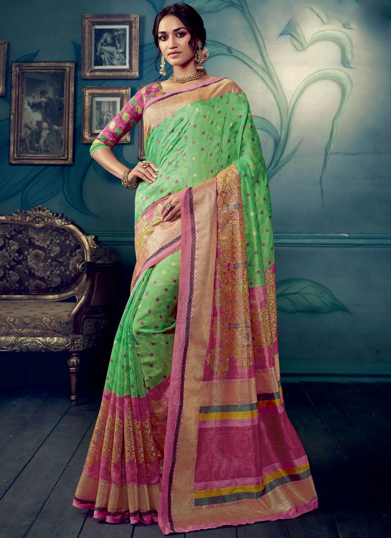 Cotton Silk Weaving Green Designer Traditional Saree