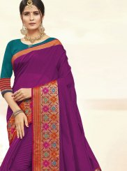 Cotton Silk Woven Traditional Saree in Purple