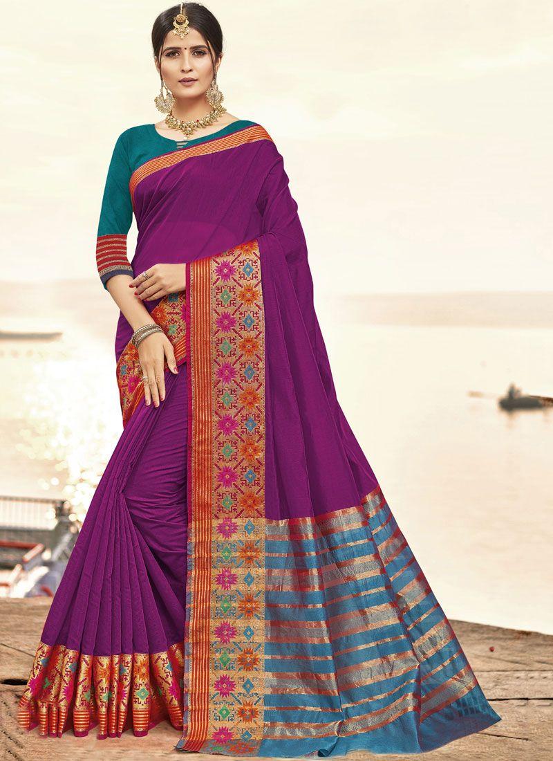 Cotton Silk Woven Traditional Saree in Purple