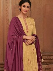 Cotton Silk Yellow Designer Pakistani Suit