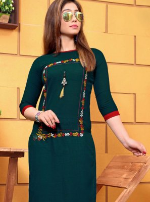 Cotton Teal Embroidered Party Wear Kurti