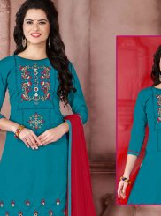 Cotton   Teal Embroidered Work Designer Palazzo Suit