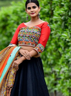 Cotton Trendy Designer Lehenga Choli in Black