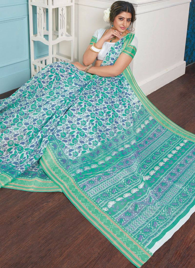 Cotton Turquoise Casual Saree