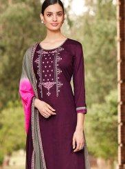 Cotton Violet Palazzo Designer Salwar Kameez