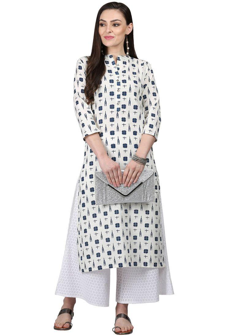 0dbeb73b2b Buy Cotton White Casual Kurti Online -