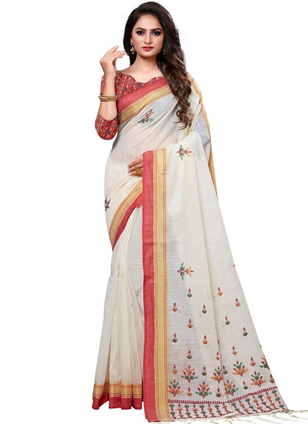 Cotton White Embroidered Designer Traditional Saree
