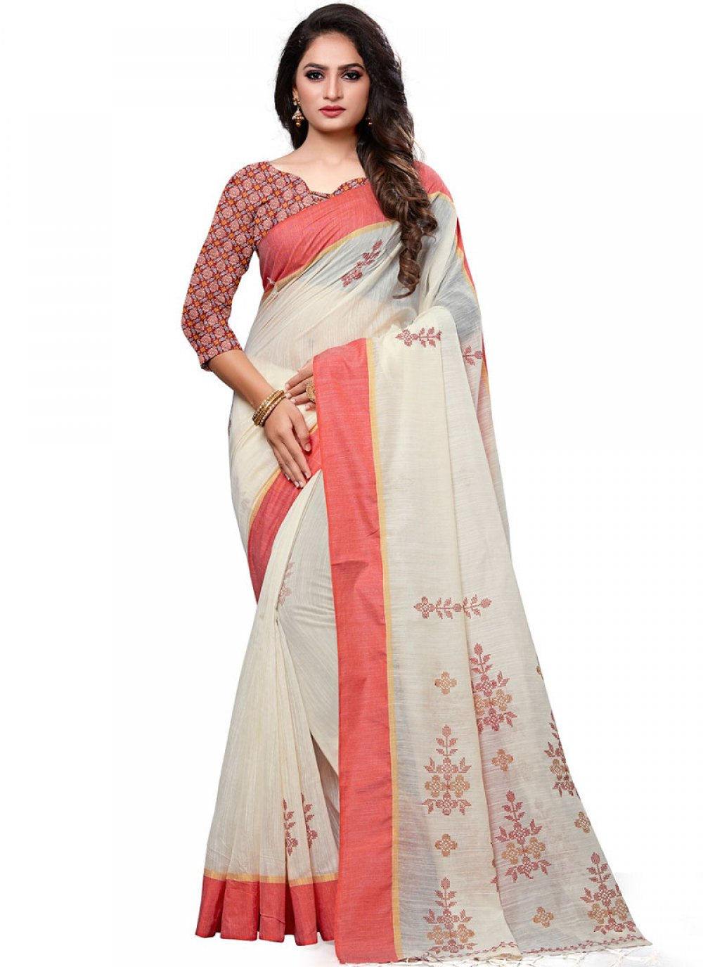Cotton White Embroidered Designer Traditional Saree