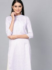 Cotton White Plain Casual Kurti