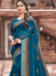 Cotton Woven Blue Classic Designer Saree