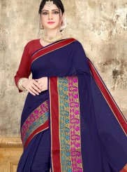 Cotton Woven Navy Blue Classic Saree