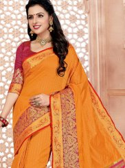 Cotton Woven Orange Classic Saree