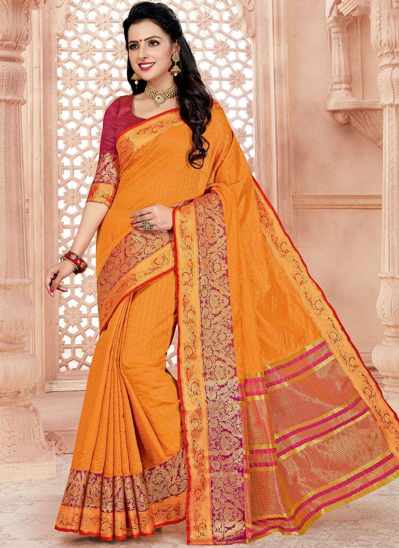 Cotton Woven Orange Classic Saree