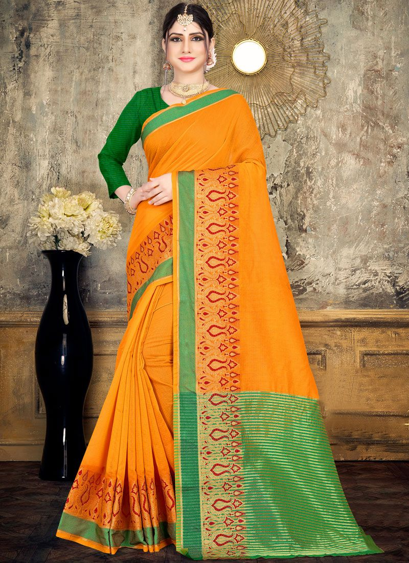 Cotton Woven Yellow Classic Saree