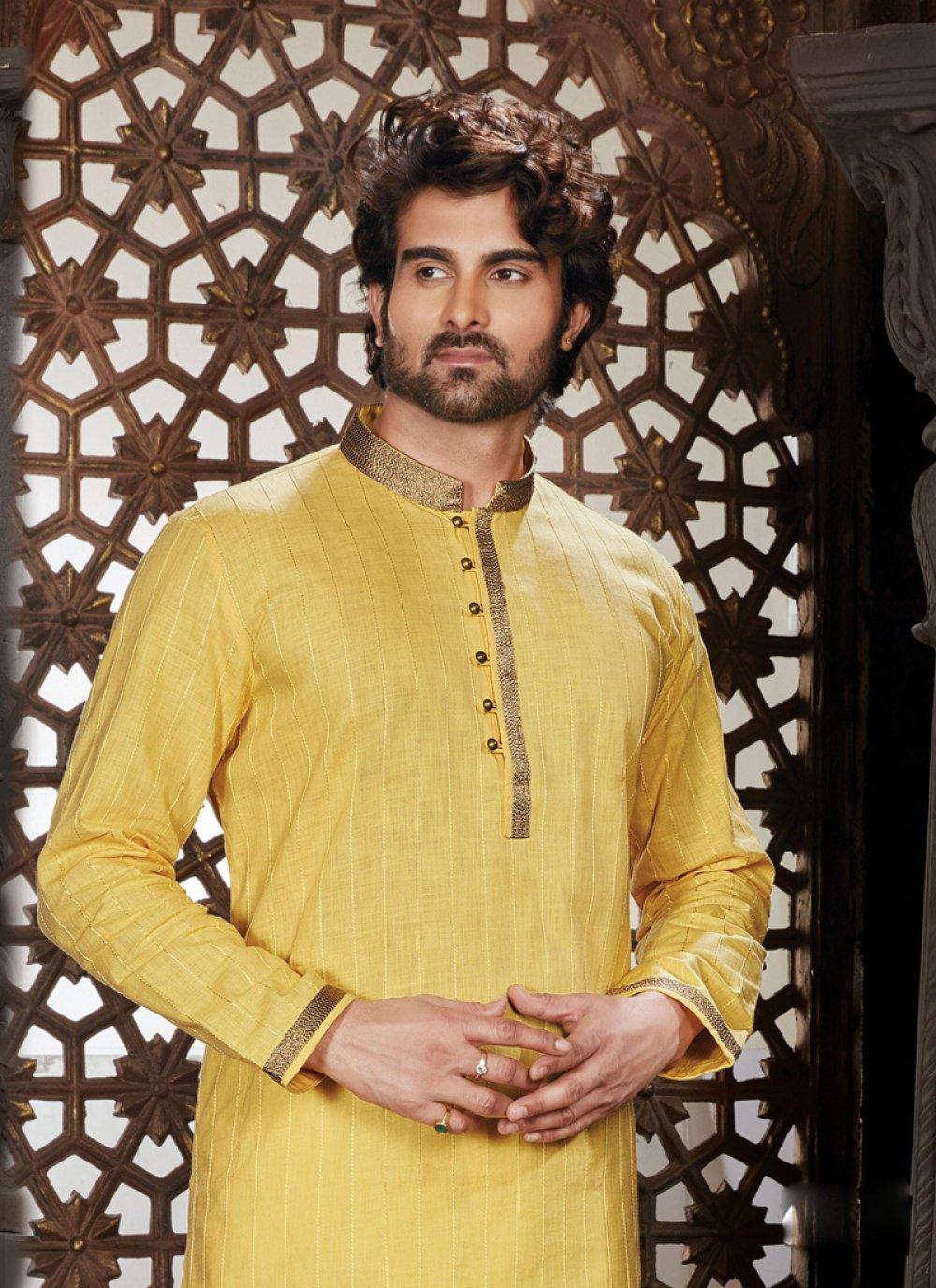 Cotton Yellow Aariwork Kurta Pyjama