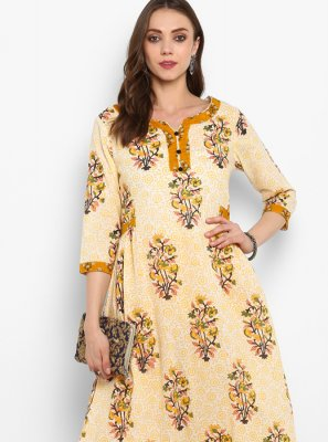 Cotton Yellow Casual Kurti