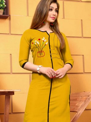 Cotton Yellow Embroidered Party Wear Kurti