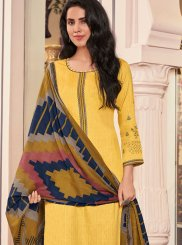 Cotton Yellow Print Pant Style Suit
