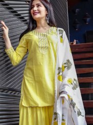 Cotton Yellow Print Party Wear Kurti