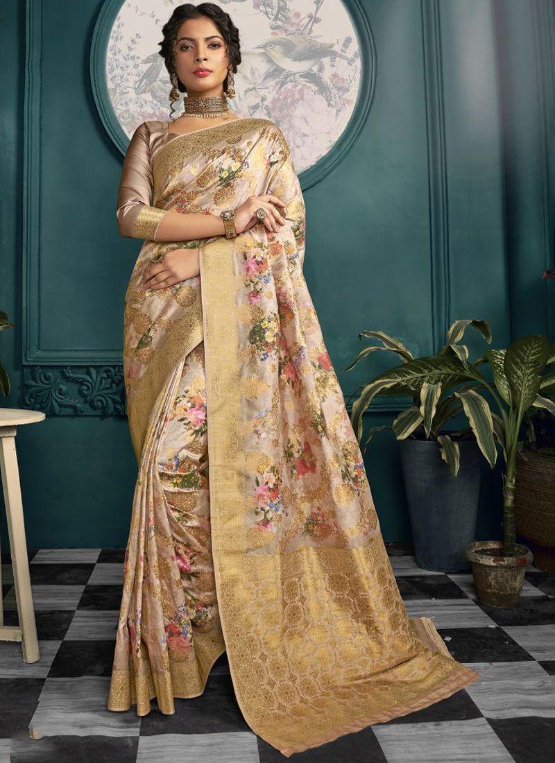 Cream and Gold Printed Crepe Silk Printed Saree