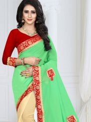 Cream and Green Patch Border Half N Half Designer Saree