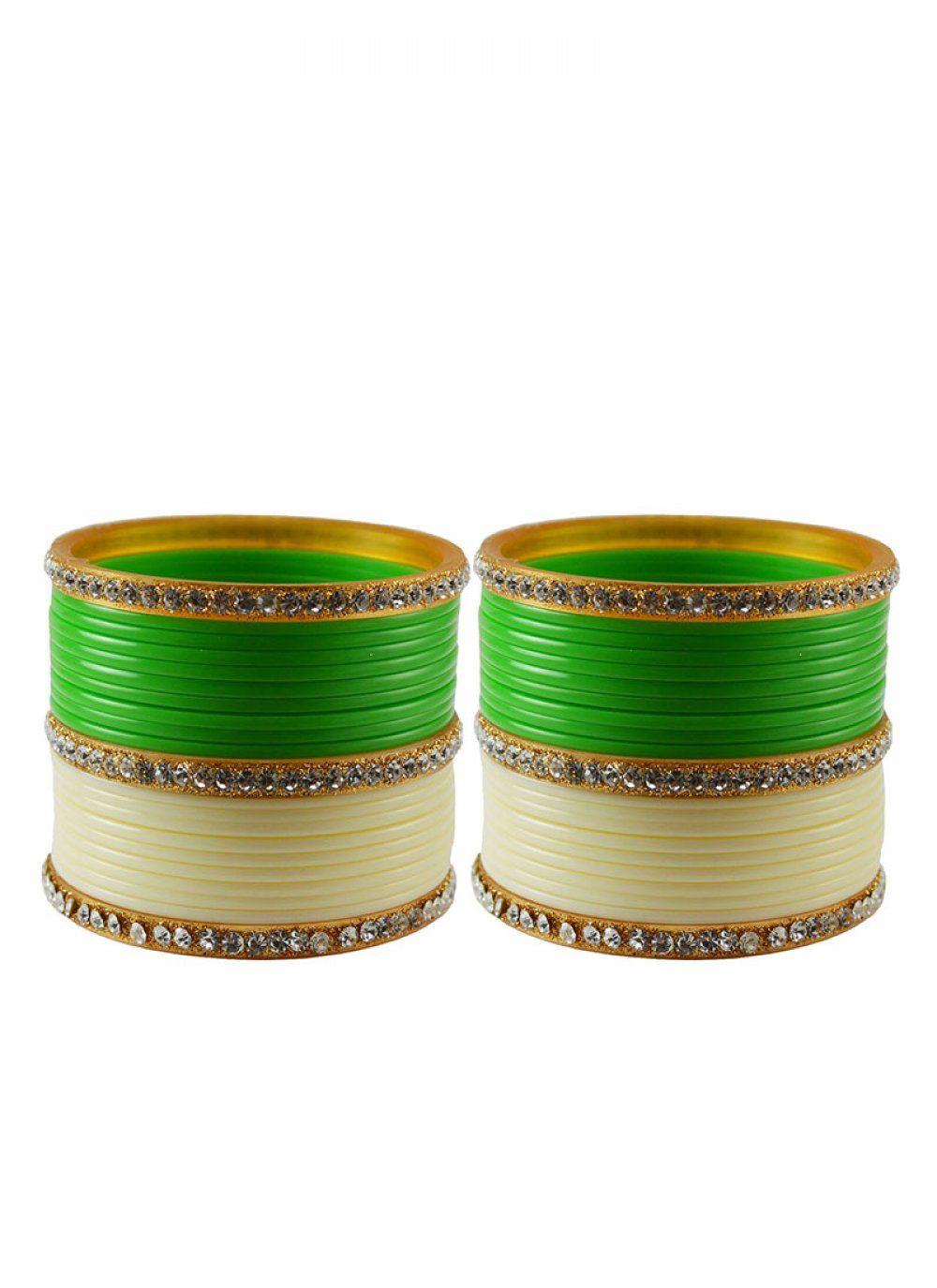 Cream and Green Reception Bangles