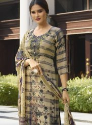 Cream and Grey Faux Crepe Designer Salwar Suit